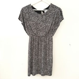 Leopard Print Blouson Dress with Straight Skirt